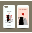 Mobile phone cover back and screen love cats for vector image vector image