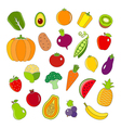 Organic fruits and vegetables outline style icons vector image