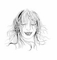 portrait of a hand drawn woman with closed eyes on vector image
