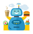 robot waiter flat style colorful cartoon vector image vector image