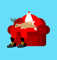 santa claus on chair stroking deer sleep vector image