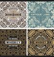 set of vintage labels with wallpaper background vector image vector image