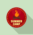 summer camp fire logo flat style vector image vector image