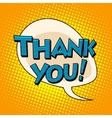 Thank you comic bubble retro text vector image vector image