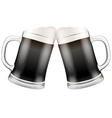 Two dark beer mugs clink vector image
