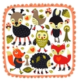 Cute background with woodland animals and birds vector image