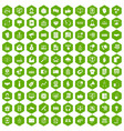 100 data exchange icons hexagon green vector image vector image