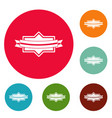 badge ribbon icons circle set vector image vector image
