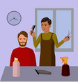 barbershop hairdresser and cuctomer cartoon vector image