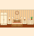 bedroom interior in pastel shades with furniture vector image vector image