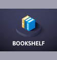 bookshelf isometric icon isolated on color vector image vector image