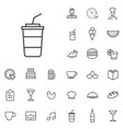 cafe outline thin flat digital icon set vector image vector image