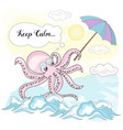 calm octopus sea underwater vector image vector image