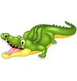 Cartoon crocodile happy vector image vector image