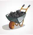 cartoon wheelbarrow with coal art vector image vector image