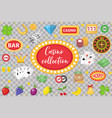 casino collection gambling set isolated on a vector image vector image