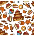Chocolate desserts and pastries seamless pattern vector image vector image