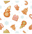 christmas seamless pattern different gingerbread vector image vector image