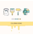coloring construction flat icons set vector image