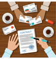 Contract for a business meeting vector image vector image