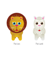 Cute Lion and Lamb vector image