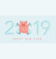 cute winter pig make snow angel happy new year vector image