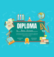 diploma template school children diploma with vector image