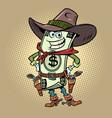 dollar money comical character a cowboy sheriff vector image vector image