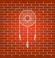 dream catcher sign whitish icon on brick vector image vector image