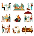 Eating People Icons Set vector image