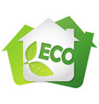 eco symbol house and green leaves vector image