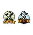 farmer emblem farm farming symbol vector image vector image