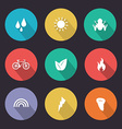 Flat design style nature icons vector image vector image