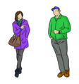 full length man and woman pointing vector image vector image