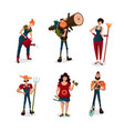 garden workers male and female cartoon characters vector image