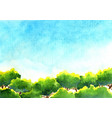 greenery trees in park with blue sky watercolor vector image