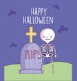 happy halloween celebration skeleton vector image vector image