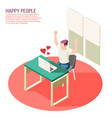 happy people isometric composition vector image vector image