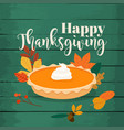 happy thanksgiving round bright orange homemade vector image