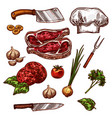 icons of butchery meat and seasonings vector image vector image