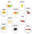 Jars set label with fruits and berries vector image vector image