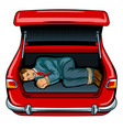 kidnapped man in the car trunk pop art vector image vector image