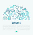 logistics concept in half circle vector image vector image