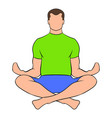 man sitting in lotus posture icon cartoon vector image