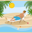 man wearing bathing shorts and taking sun in the vector image vector image