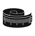 Measuring tape black simple icon vector image vector image