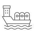 oil tanker thin line icon industrial and boat vector image vector image