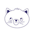 pet cat face feline cartoon isolated icon on white vector image vector image