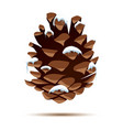 pine cone with snow cap isolated on white vector image vector image