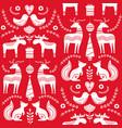scandinavian seamless folk art hand drawn pattern vector image vector image